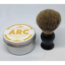 ARC Citrus Shaving Soap and Black Handle Silvertip Badger Brush Set