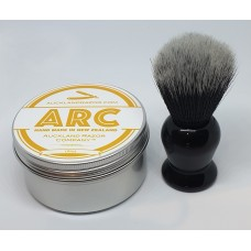 ARC Citrus Shaving Soap and Black Handle dark Synthetic Brush Set
