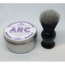 ARC Lavender Shaving Soap and Black Handle Dark Synthetic Brush Set