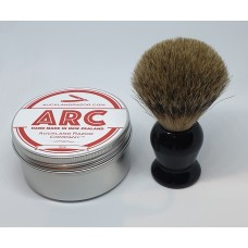 ARC Rose Shaving Soap and Black Handle Silvertip Badger Brush Set