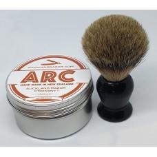 ARC Sandalwood Shaving Soap and Black Handle Silvertip Badger Brush Set