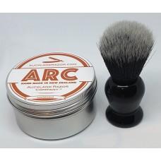 ARC Sandalwood Shaving Soap and Black Handle Dark Synthetic Brush Set