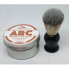 ARC Sandalwood Shaving Soap and Black Handle Light Synthetic Brush Set
