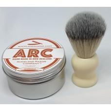 ARC Sandalwood Shaving Soap and Cream Handle Light Synthetic Brush Set